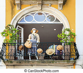 Mannequin on the balcon? - Fashionable mannequin on the...