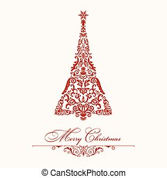 Christmas tree. Red vintage illustration