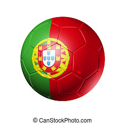 Soccer football ball with Portugal flag - 3D soccer ball...