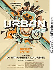 Vector night party urban invitation. Vector template graphic with building and grungy elements