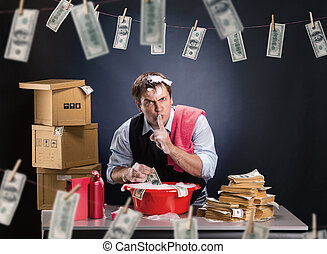 Businessman is laundering money in foam