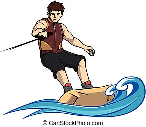 Wake boarding sport vector illustration