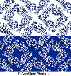 Seamless blue floral pattern Background in the style of...