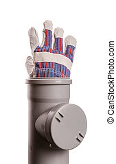 Building glove in soil-pipe on white - Soil-pipe and...