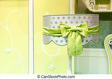 Luxury lampshade, green colors, closeup picture