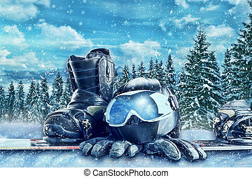 Winter sport equipment on winter forest background