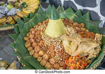 Indonesian meal for special ocassion, Tumpeng - A portrait...