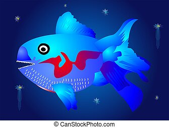 The blue fish in the depths, - composition of predatory blue...