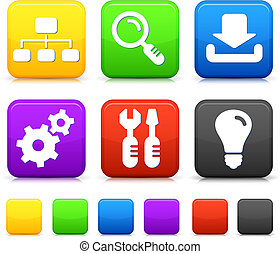 Internet Icons on Square Buttons Original vector...