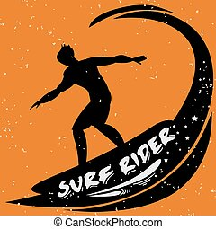 Creative poster with Surfer silhouette on grunge background...
