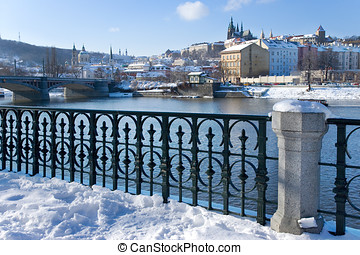 Prague castle and Moldau river, Prague UNESCO, Czech...