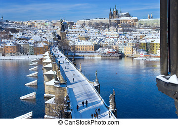 Prague castle and Charles bridge, Prague UNESCO, Czech...