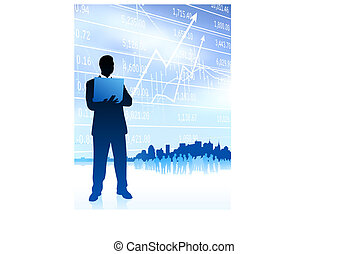 businessman with city on blue background
