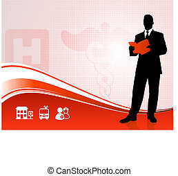 Public speaker silhouette on medical report background