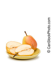 Duchess Pears - Two yellow and red juicy duchess pears in a...