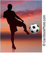 Soccer Player on Evening Background