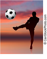Soccer Player on Evening Background Original Vector...