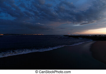 Blue dusk at the river mouth - Blue dusk at the mouth of the...