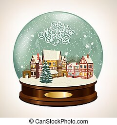 Snow covered little town. - Christmas Snow globe with a...