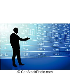 Business man on background with stock market data