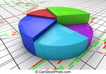 A colorful 3d pie chart graph.