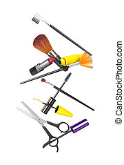 Professional hairdresser and make up tools isolated on white...