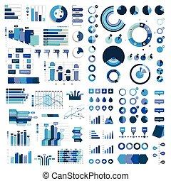 藍色, 元素,  mega, 圖表, 圖, 顏色,  flowcharts,  infographics, 彙整, 圖表