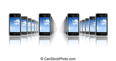 mobile phones - many three dimensional mobile phones on a...
