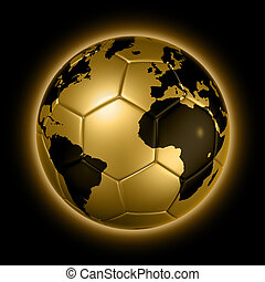 Gold soccer football ball World globe - 3D isolated gold...