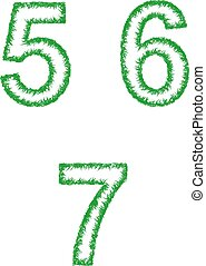 Green grass font set - numbers 5, 6, 7