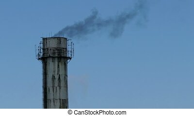 pipe plant close up black smoke against the blue sky