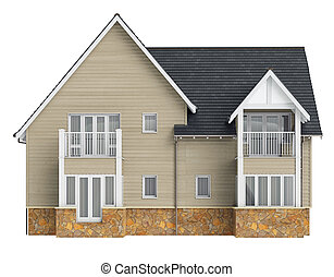 Country house high roof, front view. 3D graphic object...
