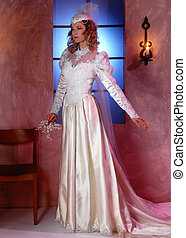 WeddingGown - Bride in formal poise in white gown