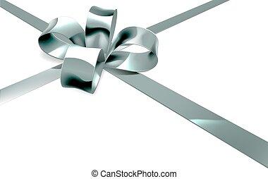 Silver Bow Ribbon Gift