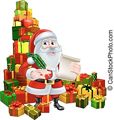 Santa With Scroll and Gifts - Christmas cartoon of Santa...