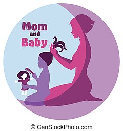 Mom and daughter - silhouette of a woman who combs his...