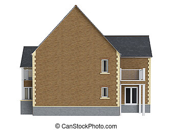 House mansion brick facade, front view