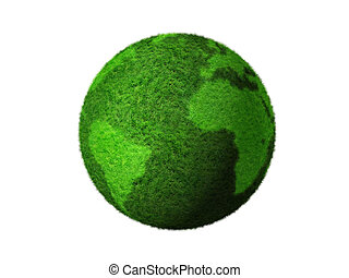 3D green grass globe - grass earth globe isolated on white -...