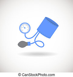 Blue and Grey Tonometer Icon. Blood Pressure Checker Sign....