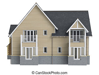 Country house wooden siding, front view. 3D graphic isolated...
