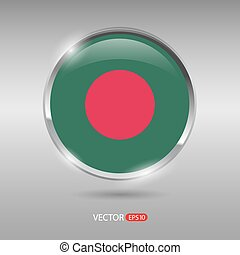 Shiny, glossy vector badge with Bangladesh flag