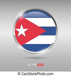 Shiny, glossy vector badge with Cuba flag