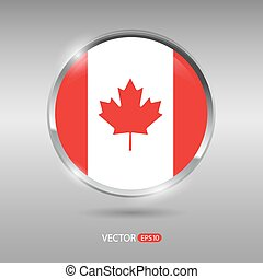 Shiny, glossy vector badge with Canada flag