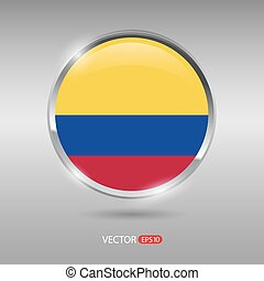 Shiny, glossy vector badge with Colombia flag