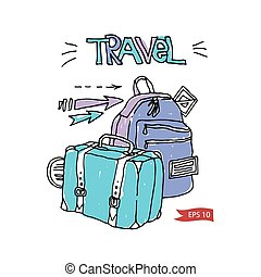 Vector luggage illustration - Travel color vector suitcases...