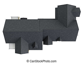 Roof big house, top view. 3D graphic isolated object on...