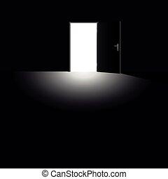 Open Door Light Escape Darkness Black - Open door with light...