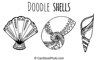 Set of Doodle seashell - Set of black and white Doodle...