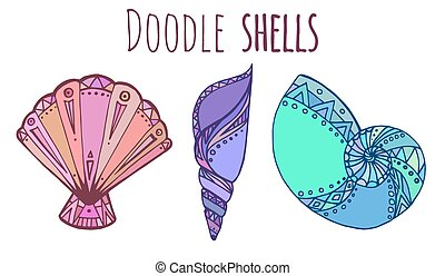 Set of colorful Doodle seashell - Set of colorful Doodle...