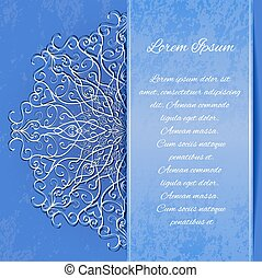 Template invitation with vintage curls and snowflakes with...
